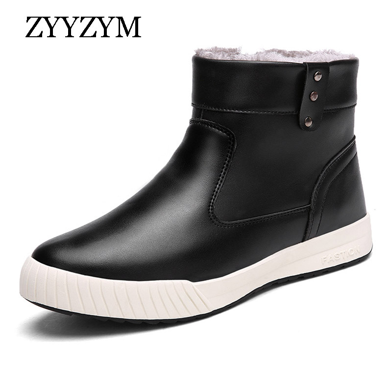 ZYYZYM Men Snow Boots Winter Pu Leather Waterproof Rain Boots British Fashion Plush Keep Warm Boots For Men Hot Sale in Snow Boots from Shoes