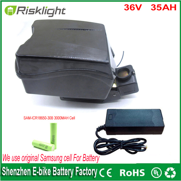 Rechargeable 36v 35Ah li ion electric <font><b>bike</b></font> <font><b>battery</b></font> for ebike <font><b>battery</b></font> Frog <font><b>case</b></font> Use Samsung 18650 cell with charger and bms