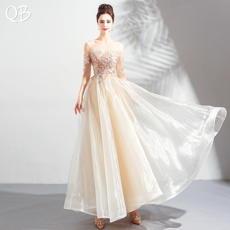 Yellow A-line 3 4 Sleeve Tulle Lace Appliques Elegant Formal   Evening     Dresses   2019 New Fashion Bride Party Prom   Dress   XK207