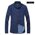 PLUS SIZE 2016 New Korean Casual Cotton Mens shirt spring and Autumn Long Sleeve Printing small plaid Fashion shirt