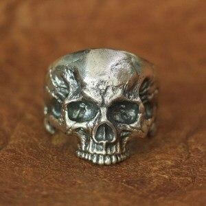 Image 2 - خاتم برقبة على شكل جمجمة من الفضة الإسترليني من LINSION موديل 925 للرجال خاتم روك بانك TA135 بمقاسات من 7 إلى 14