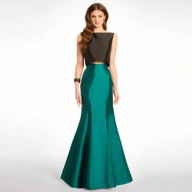 280524538 € 32.68 8% de DESCUENTO Verde oscuro sirena falda personalizado cremallera  cintura de piso longitud largo Maxi falda de satén brillante Formal ...