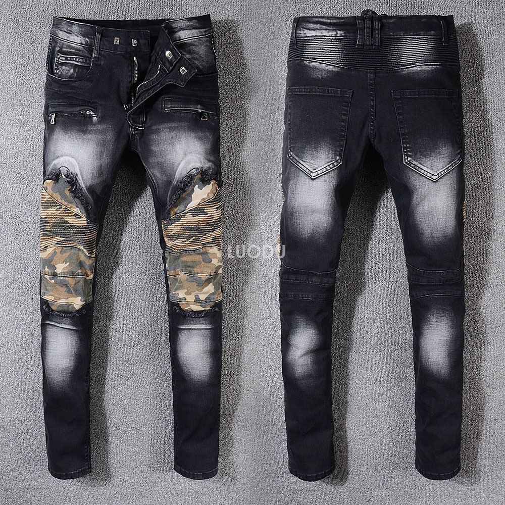 New France Model #996# Males's Distressed Pants Ribbed Camouflage Patches Navy Slim Black Biker Denims Trousers Dimension 29-42