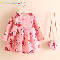 2PCS 2 6Years Spring Autumn Infant Princess Dress Flowers Cute Long Sleeves Baby Girls Dresses Bags
