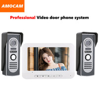 7 Video Door Phone Intercom Doorbell Kits Aluminum Alloy Panel Wired Video Doorphone System 2 IR