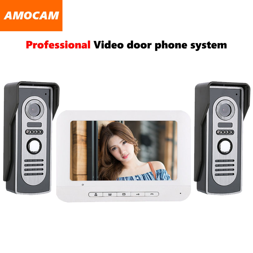 7 video door phone intercom doorbell kits aluminum alloy panel wired video doorphone system 2 IR camera 1 LCD color monitor 7 inch video doorbell tft lcd hd screen wired video doorphone for villa one monitor with one metal outdoor unit night vision