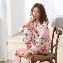 2019 Весна Для женщин удобные пижамный комплект с принтом для девочек пижамный комплект пижама с длинными рукавами костюм Для женщин наборы