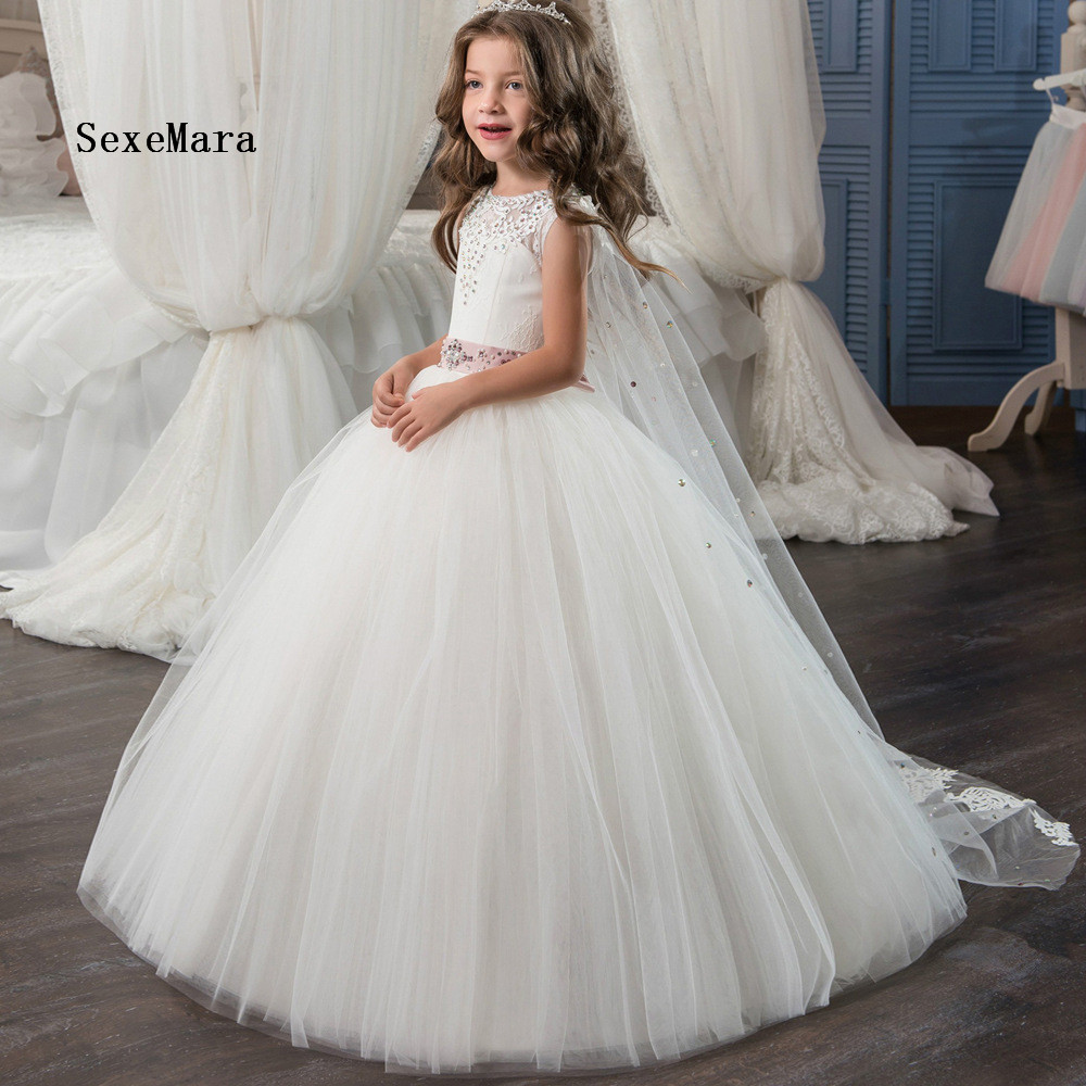 2018 kids white ball gown Beaded Crystal Flower Girl Dress with wrap lace appliques first communion dresses msk women s beaded shoulders cowl faux wrap jersey dress 12 black white
