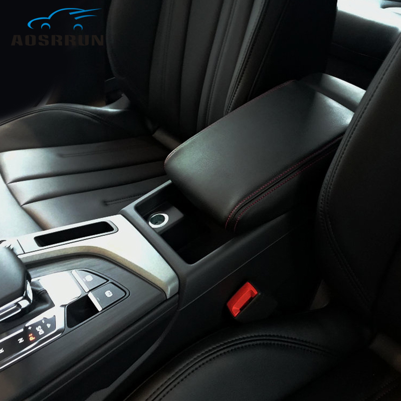 PU leather Car Armrest Box Cover Car Accessories For <font><b>Audi</b></font> <font><b>A4</b></font> B8 B9 2008 2009 2010 2011 2012 <font><b>2013</b></font> 2014 2015 2016 2017-2018 image