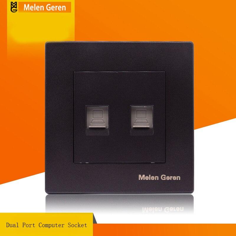 dual port computer socket panel black