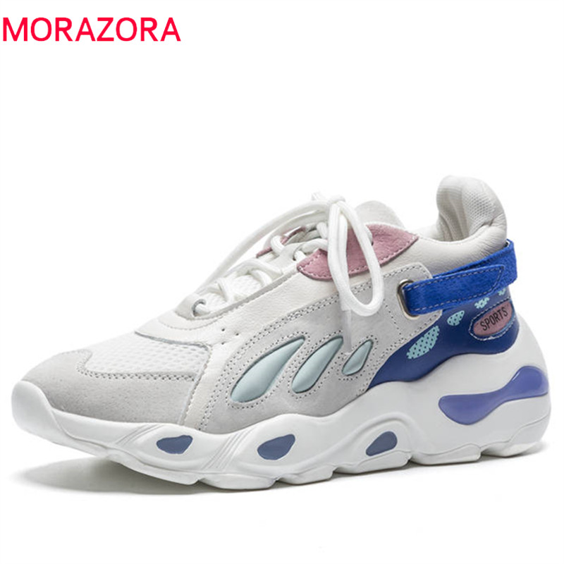 MORAZORA size 35-40 new 2018 woman shoes suede leather casual shoes sneakers women lace up fashion ladies platform flat shoes doratasia new women lace up good quality fashion sneakers flat platform shoes woman casual spring flats big size 31 43