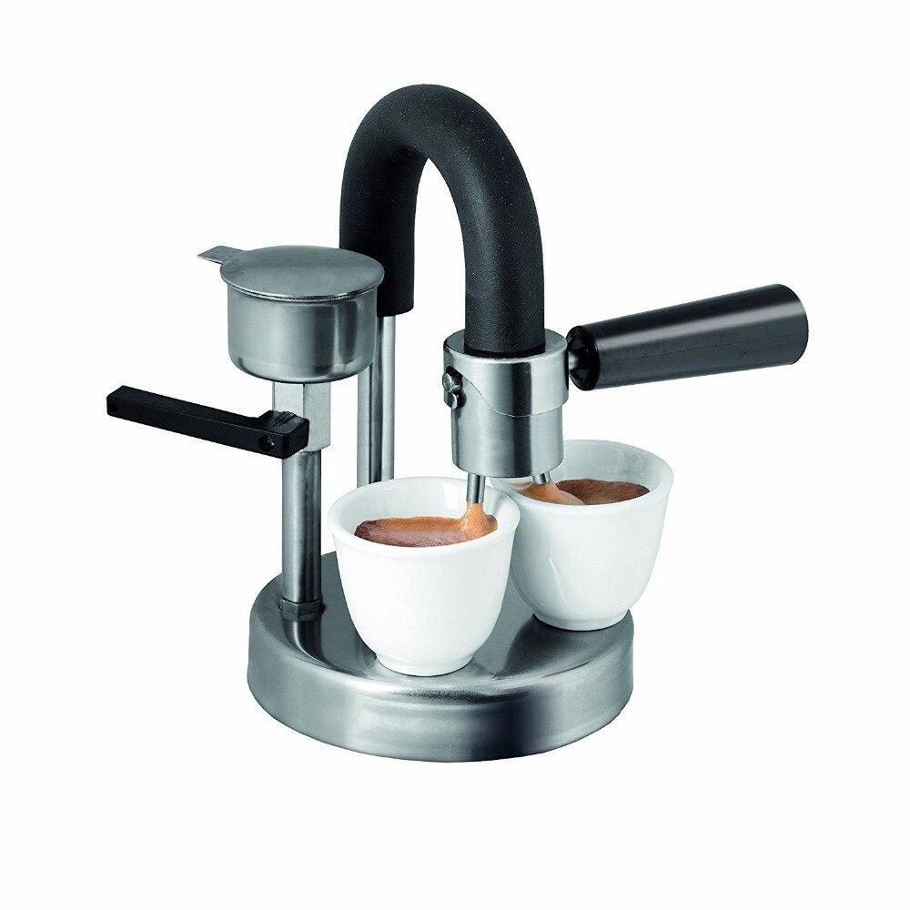 1 pc pote moka Stovetop Espresso do Fogão da Indução 1-2cups Fabricante de handmade Puro pote de café de aço inoxidável para casa e uso de escritório