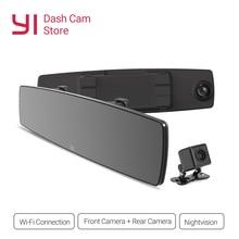 YI регистраторы Сенсорный экран спереди заднего вида HD Авто видеорегистратор дляя автомобиля Камера рекордер WiFi G Сенсор Ночное видение зеркало Регистратор