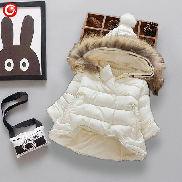 Baby Girls Winter Hooded Down Coat Kids 3 Colors Kids Thicken Parkas Jacket Clothes 2016 Christmas Warm Clothing 7-24M