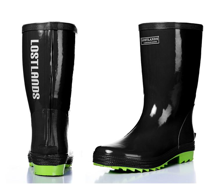 Men's tall boots wellington rubber boots waterproof rain boots top quality for man mid calf