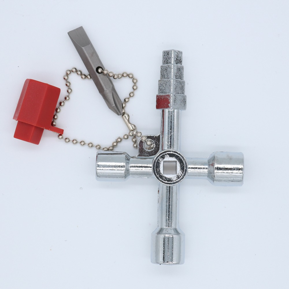 Pagoda Multi-function Electric Control Cabinet Triangular Key Wrench Elevator Water Meter Valve Square Hole Key Hand Tools