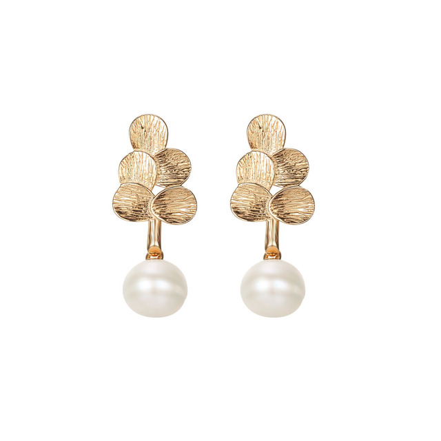 Light Gold Genuine 925 Sterling Silver Leaves White Natural Pearl Beads Stud Earring Fashion Women Jewelry Wedding Gift