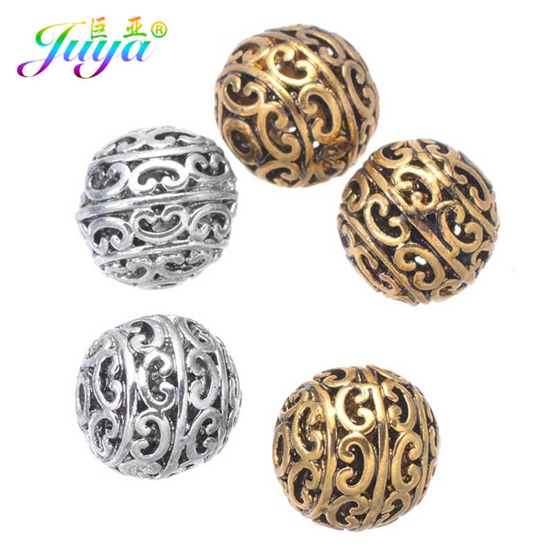 DIY Jewelry Metal Beads Antique Gold/Silver 12mm Hollow Charm Beads Accessories For Women Handmade Vintage Gothic Jewelry Making