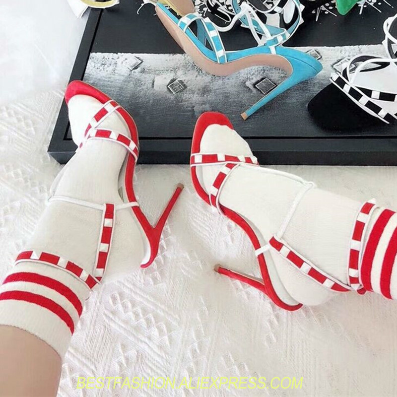 T-strap Studded Gladiator Sandals Women Summer Shoes Studded Rivets Spikes Red Black Suede stiletto High Heels Ankle Women ShoesT-strap Studded Gladiator Sandals Women Summer Shoes Studded Rivets Spikes Red Black Suede stiletto High Heels Ankle Women Shoes