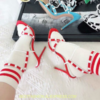 T strap Studded Gladiator Sandals Women Summer Shoes Studded Rivets Spikes Red Black Suede stiletto High Heels Ankle Women Shoes