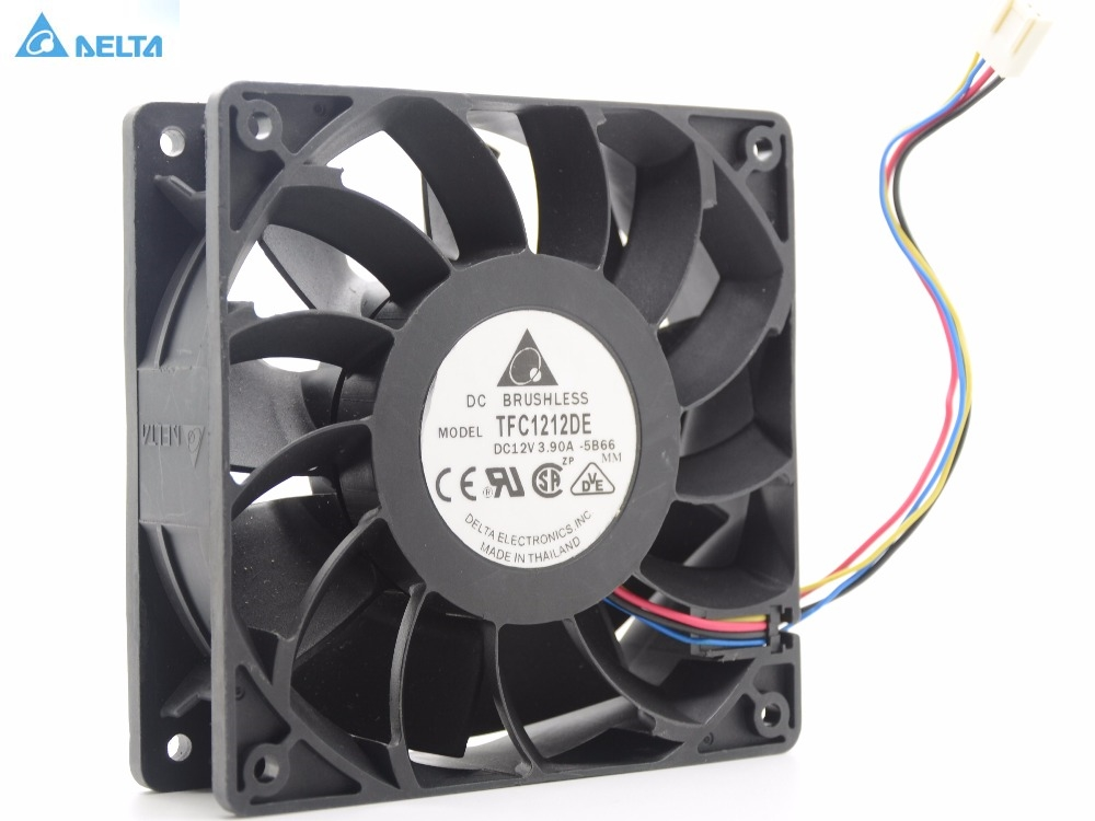 Delta 12CM  120mm 1225 12025 120*120*25MM PWM Fan TFC1212DE 252CFM vs PFB1212UHE Most Powerful Server CaseFan delta afb1212hhe 12038 12cm 120 120 38mm 4 line pwm intelligent temperature control 12v 0 7a