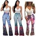 2016 Verano Otoño Moda Mujeres Sexy Flaco Pantalones Patrón Africano Tie Dye Imprimir Casual Pierna Ancha de Cintura Alta Pantalones Largos