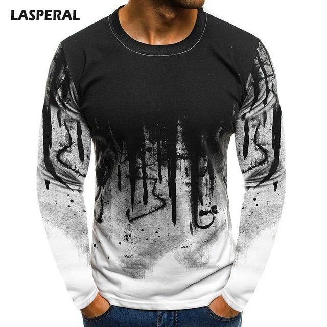 f8d6cc05 LASPERAL Bottoms 3XL Plus Size Tee Top Male Hiphop Streetwear Long Sleeve  Fitness Tshirts Men Printed Camouflage Male T-shirts