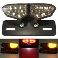 Motorcycle 12V LED Taillight Turn Signal Rear Brake License Plate Light Bracket