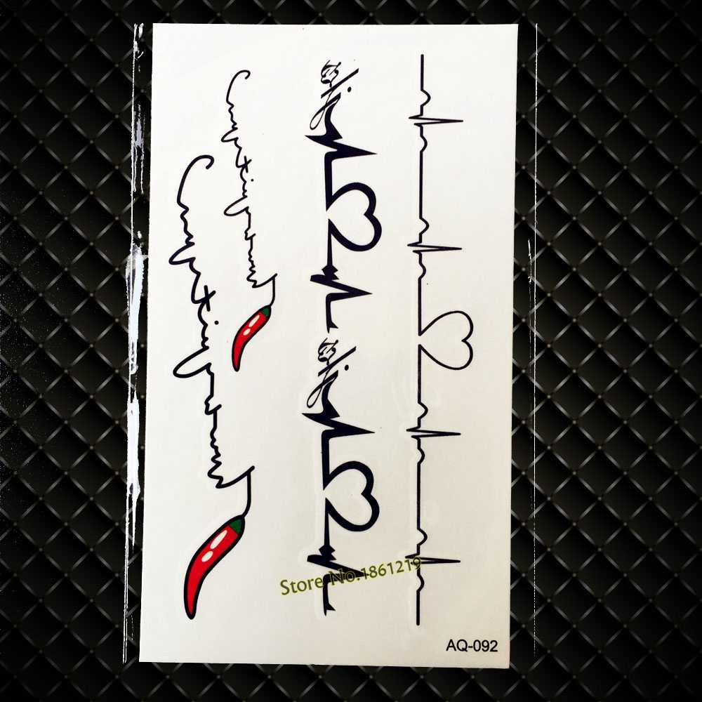 c4a546f814760 Hot Chilli Love Heart ECG Electrocardiogram Temporary Tattoo Sticker  Waterproof Body Art Fake Tattoo Stickers For