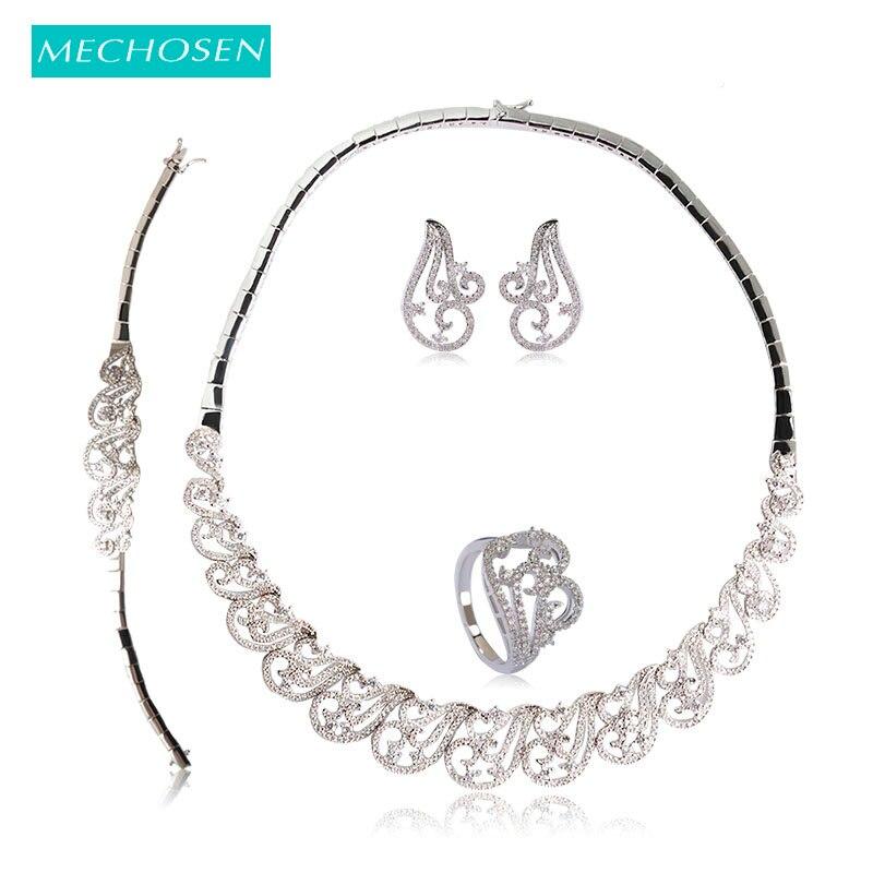 Mechoice Dubai ensembles de Bijoux de luxe cuivre zircone collier boucles d'oreilles Bracelet bague ensemble pour les femmes argent-couleur musique Note Bijoux