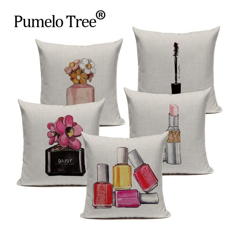 Cheap Price Cotton Perfume Bottle Almofadas Fundas 45Cmx45Cm Square Home Linen Cotton Printed Pillow Case