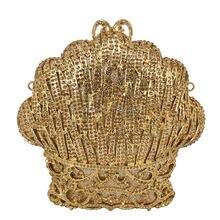 LaiSC Gold evening crystal clutch bag Women wedding Party Purse Ladies prom Handbag Diamond Evening bag  SC202-C