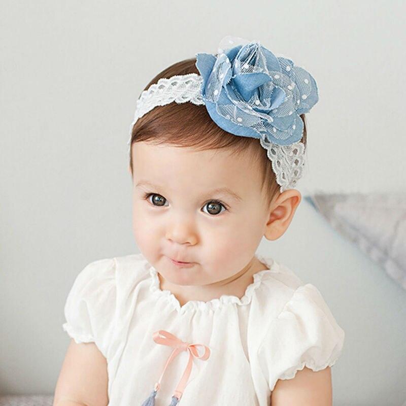 ツ)_/¯Precioso bebé de la venda headwear Encaje flores elástico ...