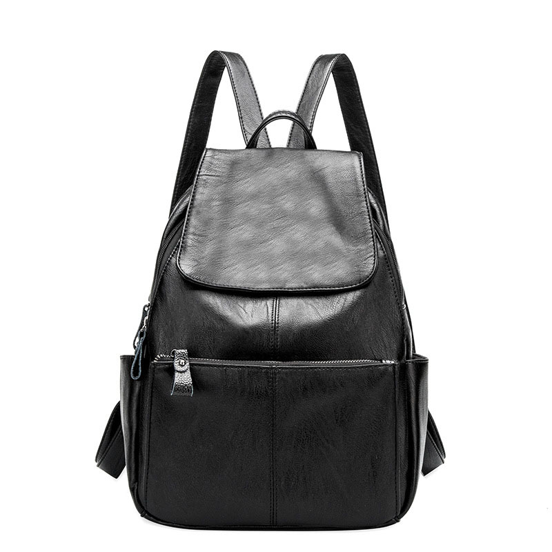 Casual Backpack Leather High Quality School Shoulder Bag Women Solid Zipper Hasp Backpacks Black