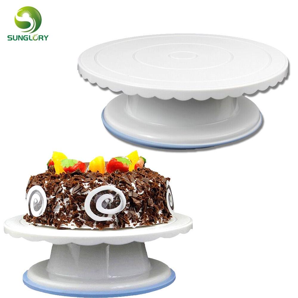 28CM Fondant Decor Non slip Cake Turntable Rotating Revolving Cake Stand Round Platform Sugarcraft Baking Cake Decorating Tools