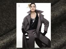 Herringbone pattern, wool coat, fabric, delicate and silky C370