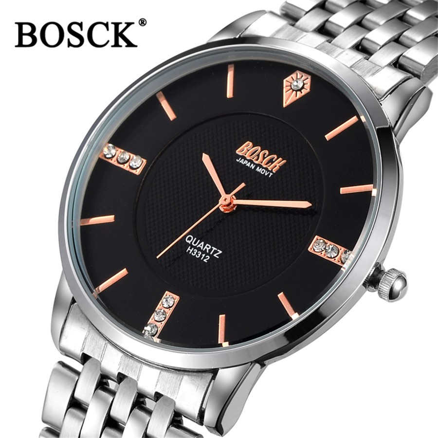 Bosck Ultra Thin Guartz Watch Luxury Brand Mens Watches Stainless Steel Wrist Male Diamond Man Watch