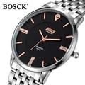 Bosck Ultra Thin Guartz Watch Luxury Brand Mens Watches Stainless Steel Wrist Male Diamond Man Watch Clock Men Relogio Masculino