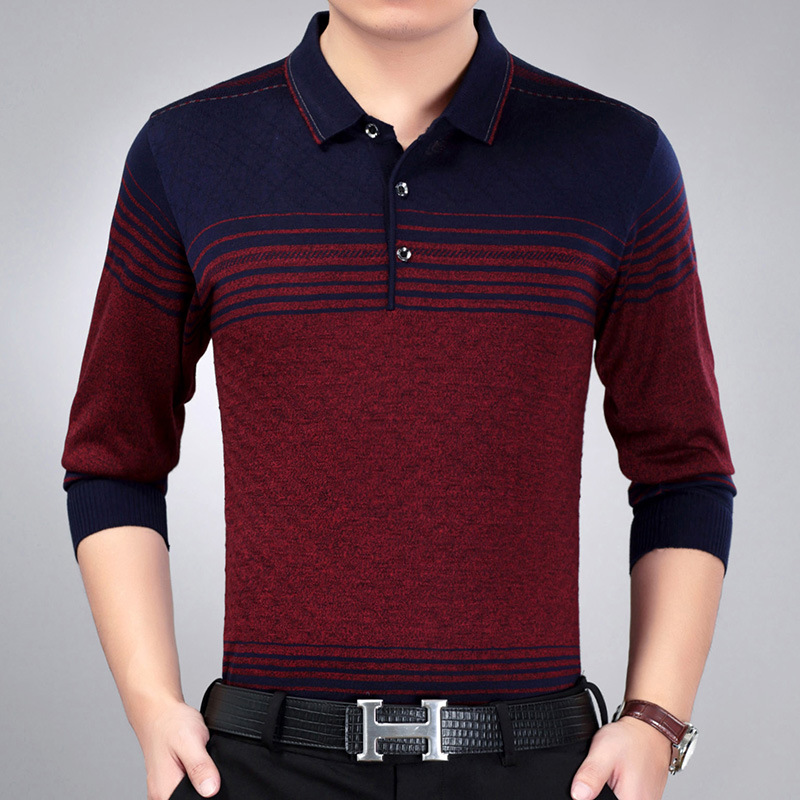 Sweater Men Slim-Fit Pullovers Knitting Autumn Striped Casual Fashion-Brand 3XL Thin