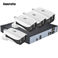 Hamrolte 5MP POE NVR System 4CH H.265 POE NVR 5MP Outdoor POE Camera Nightvision Plug and Play POE Security System Remote Access