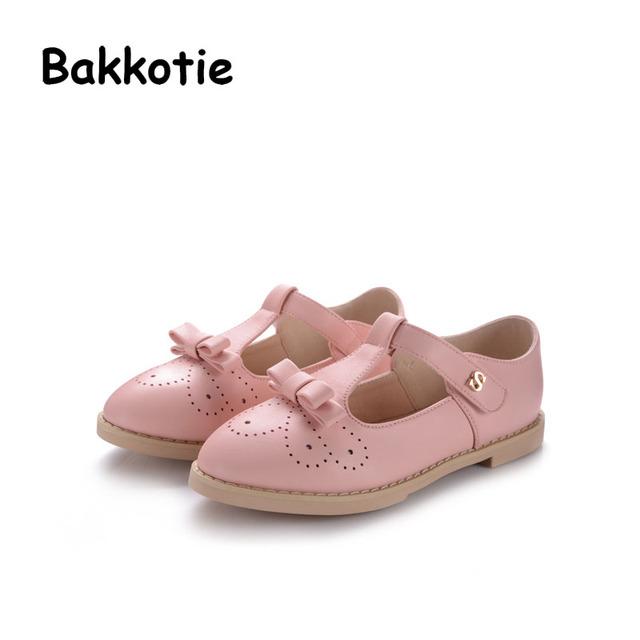 Bakkotie 2017 Nueva Moda Primavera Otoño Bebé Toddle Marca Kid Muchacha del Ocio Pisos Arco Princesa de Los Niños Del Zapato Comfort Pink