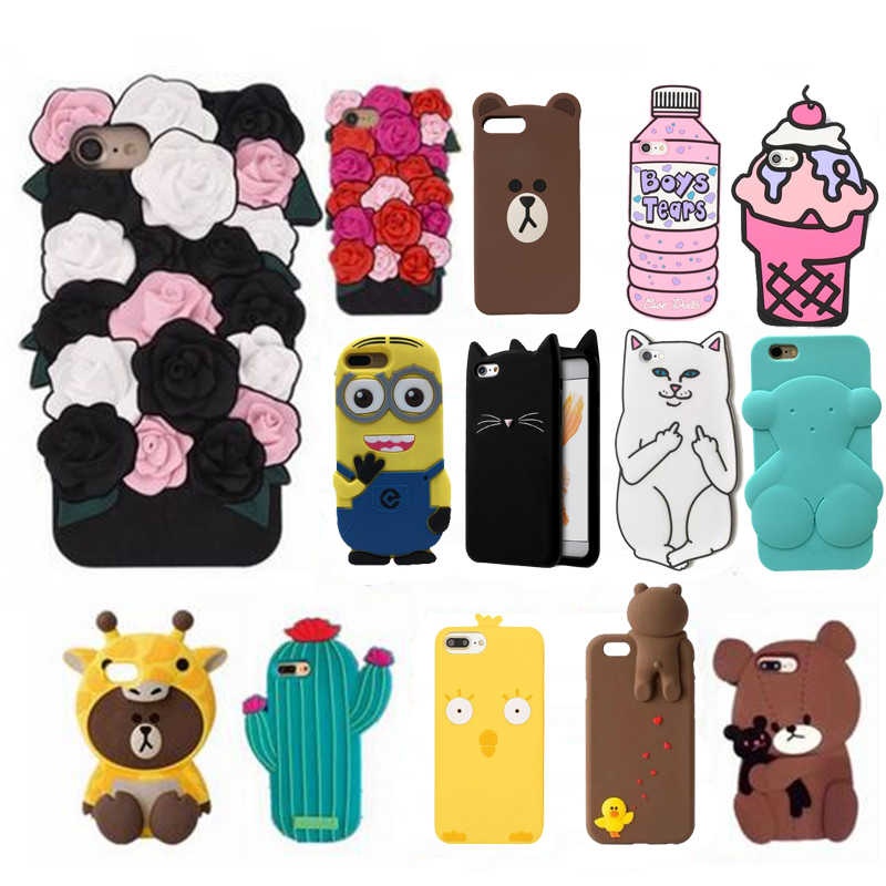 Seonstai 3D Cute Cartoon i8 Case Soft Silicone Cover for iPhone 7 8 plus Flower Ice Cream Rubber Cover for iphone 6 6s plus