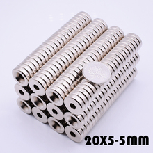 10Pcs 20x5 mm Neodymium Magnet With Hole 5mm N35 Super Powerful neodymium magnets for crafts gallium metal Disc 20*5