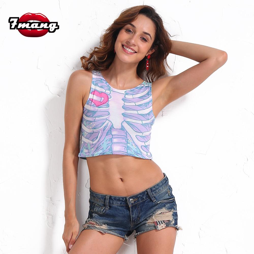7 mang 2018 verano mujeres moda esqueleto impresión cosecha superior corto Delgado cómodo elástico partido extraño tank top