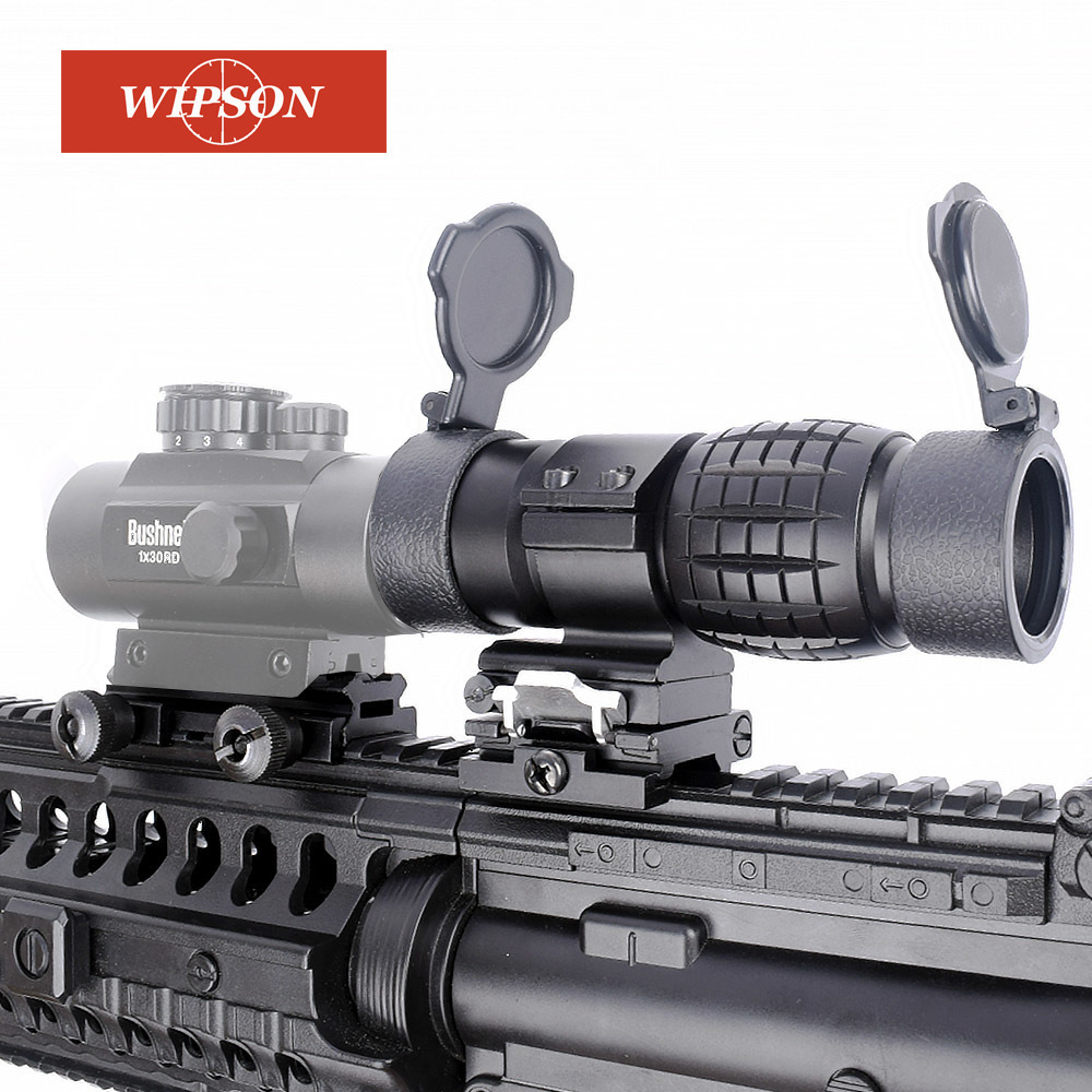 цена WIPSON Optic sight 3X Magnifier Scope Compact Hunting Riflescope Sights with Flip Up cover Fit for 20mm Rifle Gun Rail Mount