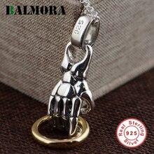 Balmora Аутентичные стерлингового серебра 925 Винтаж ручной Подвески для Ожерелья Для мужчин Аксессуары подарки S925 Серебряные ювелирные изделия SY13009