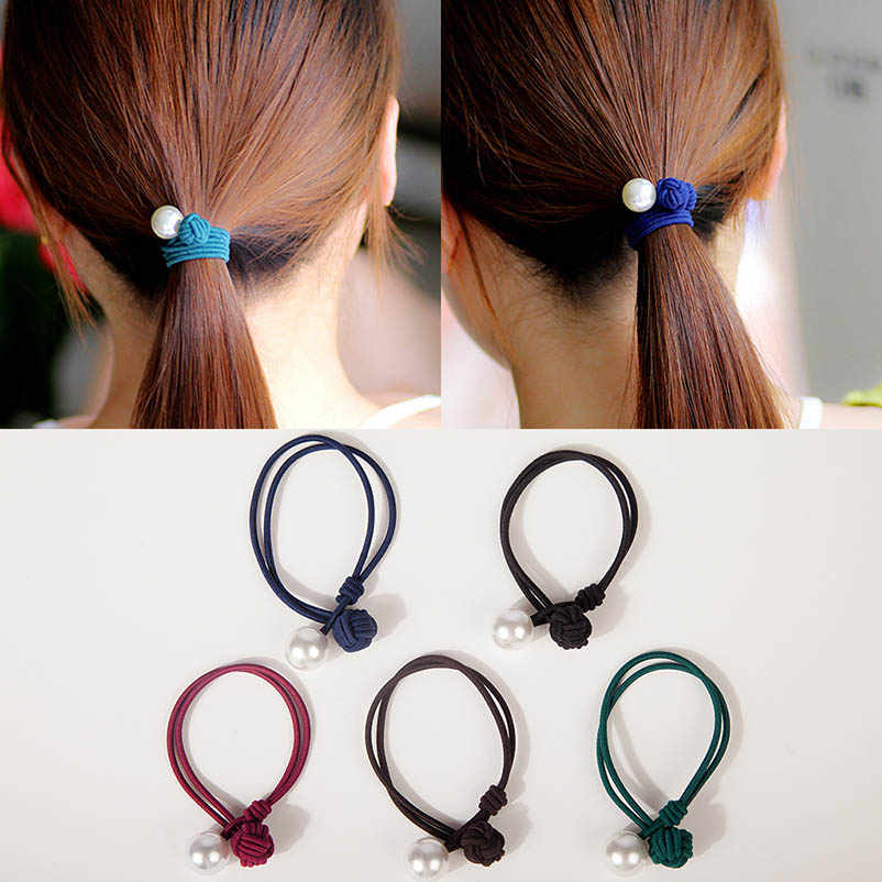Artificial Pearl Blue Black Red Brown Green Double-layer Elastic Hair Bands Ponytail Holders Headwear Hair Accessories for Women