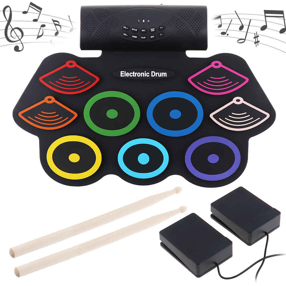 Здесь продается  Colorful Portable Roll Up Electronic Drum Set 9 Silicon Pads Kit Built-in Speakers with Drumsticks Foot Pedals Support USB MIDI  Спорт и развлечения