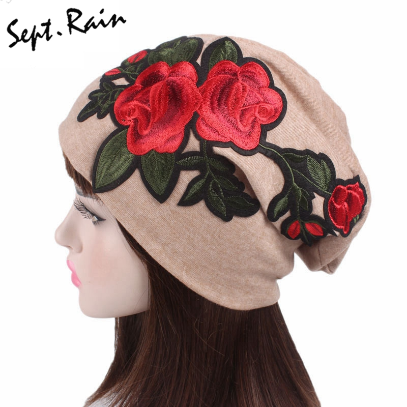 Large Caps Big Size Rose Flower Embroidery Slouch Beanie Jersey Skull Hat Women Lady Floral Hats Confinement