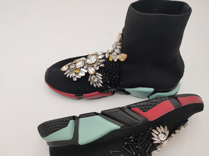 Cristal meias tênis feminino com cristais strass